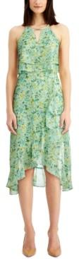Kensie Printed Popover Midi Dress