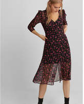 Express ruffle button front fit and flare midi dress