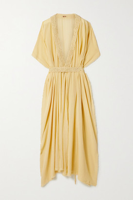 CARAVANA Net Sustain Paqari Belted Crochet-trimmed Cotton-gauze Maxi Wrap Dress - Pastel yellow