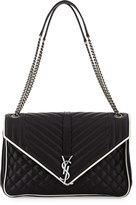Saint Laurent Monogram Large Mixed-Matelassé Leather Envelope Satchel Bag, Black