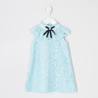 River Island Mini girls Blue lace bow collar shift dress