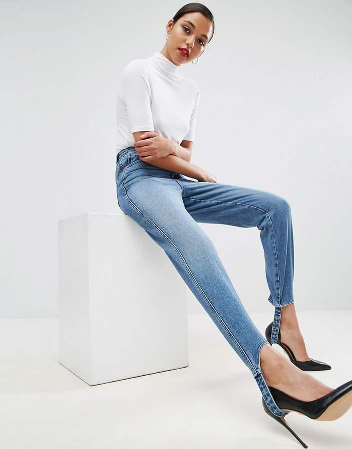 Asos Authentic Rigid Mom Jeans In Mid Wash With Stirrup Hem
