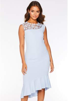 Quiz Pale Blue Crochet Asymmetric Frill Hem Dress