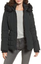 GUESS Women's Quilted Hooded Puffer Coat With Faux Fur Trim