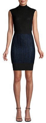 Herve Leger Ribbed Mockneck Mini Dress