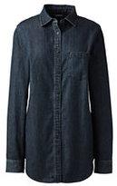 Classic Women's Petite Long Sleeve Denim Tunic-Dark Denim Wash