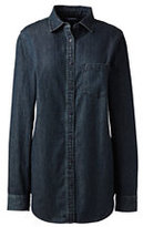 Lands' End Women's Petite Long Sleeve Denim Tunic-Dark Denim Wash