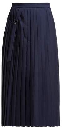 Joseph Beck Pleated Wool Wrap Skirt - Womens - Navy