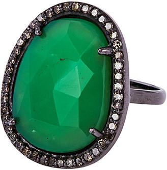 Adornia Fine Silver 5.40 Ct. Tw. Diamond & Chrysoprase Ring