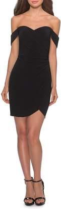 La Femme Off the Shoulder Ruched Soft Jersey Party Dress