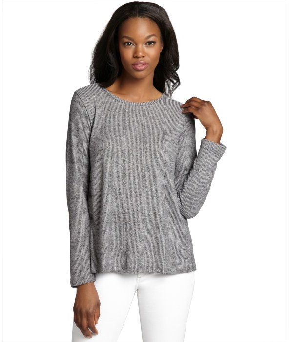 LnA heather grey stretch knit and lace back 'Mazzy' sweater