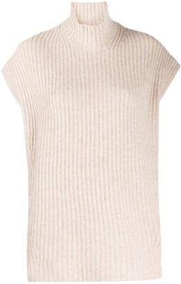 Ganni High-Neck Short-Sleeve Jumper