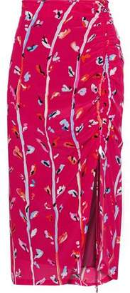 Altuzarra Fausto Ruched Printed Silk Crepe De Chine Skirt