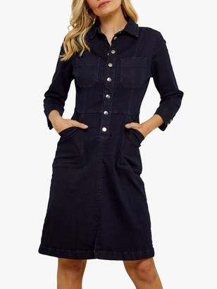 Sosandar Popper Front Stretch Denim Dress, Indigo