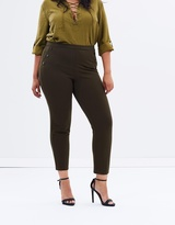 Cropped Pull-On Ponte Pants
