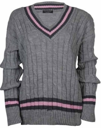 ER Traders Ltd New Ladies V Neck Cable Knitted Cricket Jumper Womens Outdoor Stretch Long Sleeve Striped Sweater Top (Grey 16)