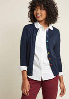 MDS1057 Show your style smarts in this navy cardigan! With a rainbow-buttoned front, 3/4-length sleeves, and a fine, soft knit with ribbed edges, this versatile sweater will be your favorite wardrobe staple. No matter how you wear it, this ModCloth-exclusive piec
