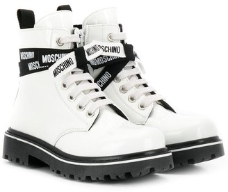 MOSCHINO BAMBINO Logo Lace-Up Boots