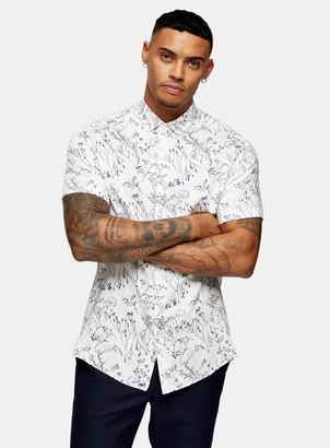 Topman PREMIUM White and Blue Floral Print Slim Shirt