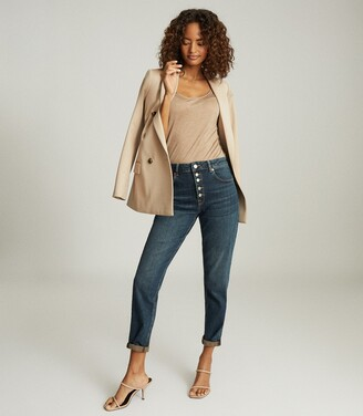Reiss Bailey - Mid Rise Slim Cropped Jeans in Dark Blue
