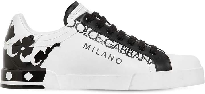 Dolce & Gabbana Portofino Crown Printed Leather Sneakers