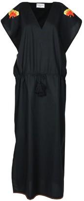 Maraina London Margaux Black Drawstring Kaftan Dress With With Handmade Embroidery