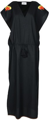 Margaux Black Drawstring Kaftan Dress With With Handmade Embroidery