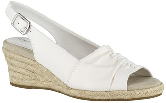 Easy Street Shoes Kindly Ruched Wedge Sandal - Multiple Widths Available