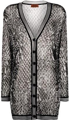 Missoni Semi-Sheer Patterned Long-Line Cardigan