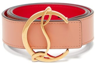 Christian Louboutin Monogram-buckle Leather Belt - Womens - Light Pink