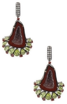 Artisan Geode earring with Peridot, Garnet & Diamond