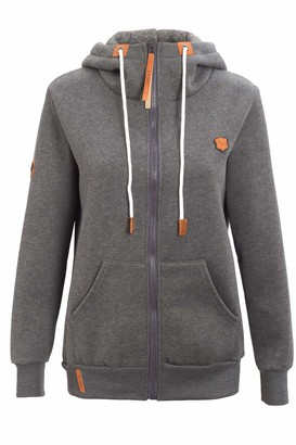 Les umes Womens High Neck Hoodies Sweatshirts Full-Zip Hooded Long Sleeve Outerwear Hoody Jackets Tops with Drawstring UK 14/Tag Size XL Dark Grey