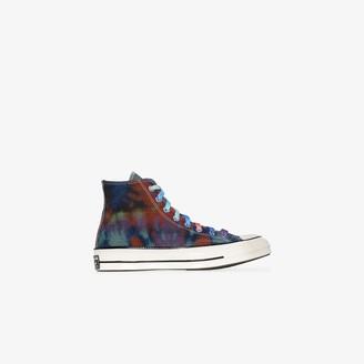 Converse multicoloured Chuck 70 tie-dye check high top sneakers