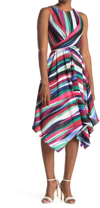 Maggy London Striped Sleeveless Tie Waist Midi Dress