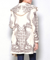 Paparazzi Cream & Brown Embroidered Hooded Open Cardigan