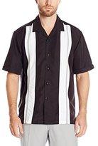 Cubavera Men's Tri Color Panel Short Sleeve Woven Shirt