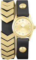Decree Girls Black Gold-Tone Chevron Wrap Watch