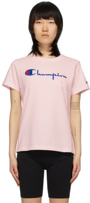 Champion Reverse Weave Pink Big Script T-Shirt