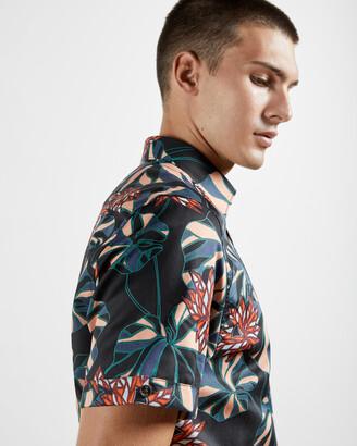 Ted Baker MANET Bold leaf print cotton shirt