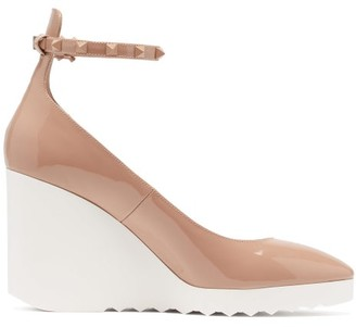 Valentino White Wave Wedge-heel Patent-leather Pumps - Nude
