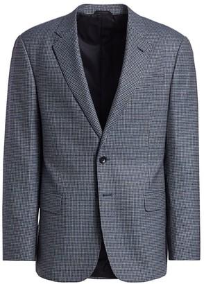Giorgio Armani Micro Check Single-Breasted Wool Blazer