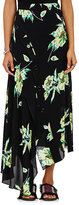 Proenza Schouler Women's Lily-Print Silk Asymmetric Skirt-BLACK