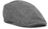 Brunello Cucinelli - Leather-trimmed Mélange Wool Flat Cap