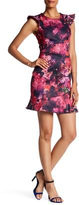 ABS by Allen Schwartz Flutter Sleeve Flounce Dress