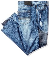 Southpole Men's Big and Tall Slim Straight Ripped and Repaired Denim with Quilted Biker Details