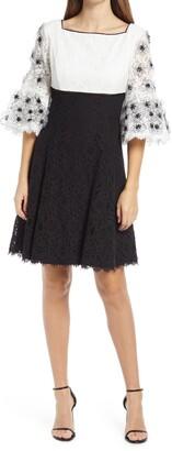 Shani Sequin Lace Empire Waist Cotton Blend Cocktail Dress