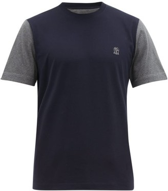 Brunello Cucinelli Logo-embroidered Bi-tone Cotton T-shirt - Mens - Navy