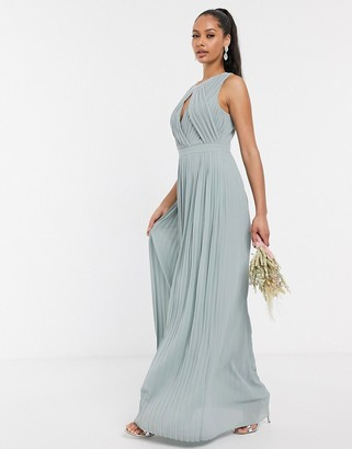 TFNC pleated key hole maxi bridesmaid dress in sage