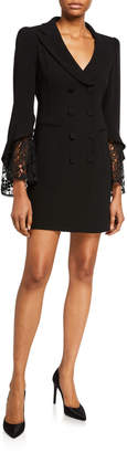 Nanette Lepore Double Breasted Lace-Sleeve Mini Dress