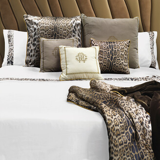 Roberto Cavalli Leopard Border Bed Set - White - Super King